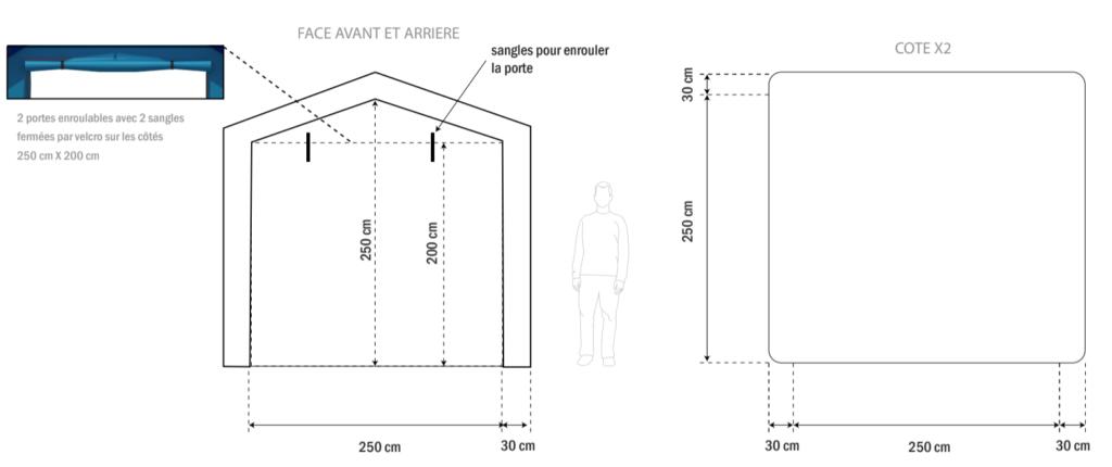Un bon à tirer pour une petite tente PMA ou de décontamination, de dimensions 2.5 x 2.5 x 2.5 m, en forme de maison ou de chapiteau, en enveloppe PVC 0.6 mm, air captif étanche, gonflée à l'air avec une pompe électrique.