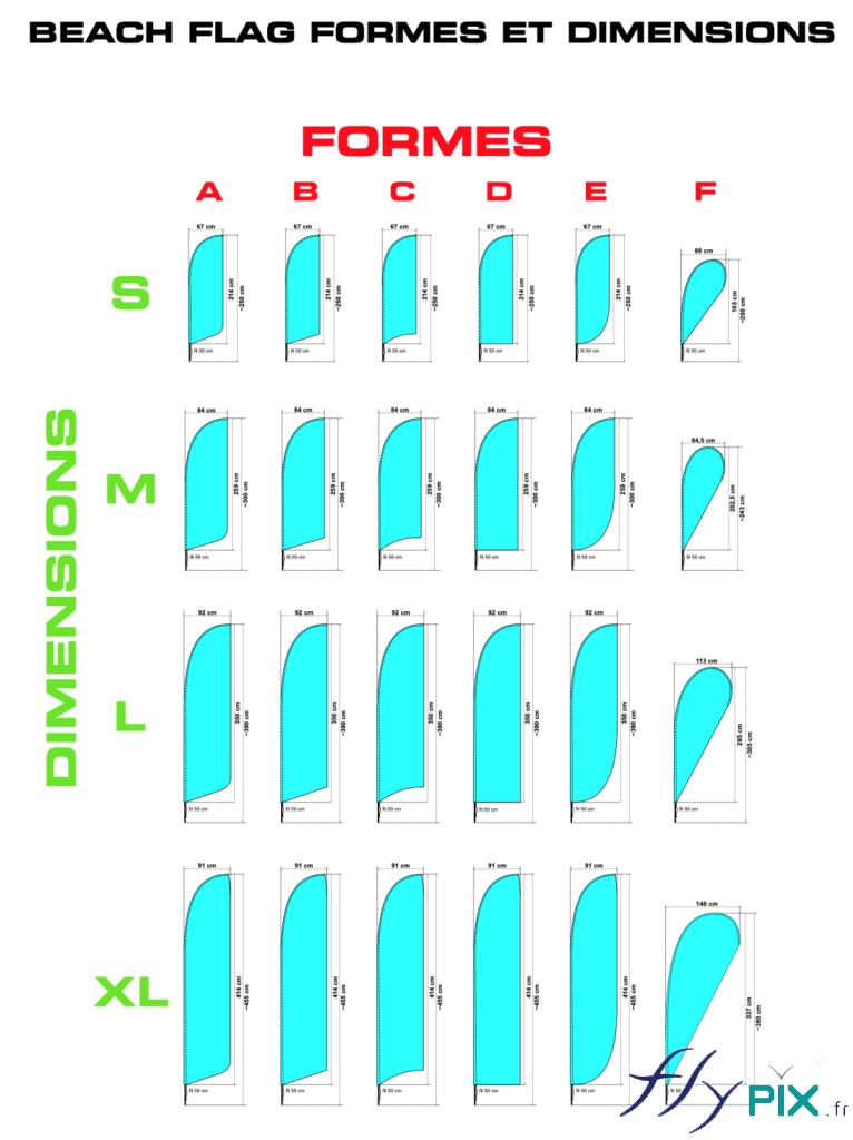 Différentes tailles d'oriflammes sont disponibles, de 2.5 m à 3.90 m de hauteur.