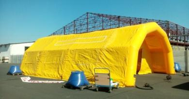 Tente PMA (modèle évolué) L = 10 m ; l = 6 m ; H = 2.75 m, air captif, PVC 0,6 mm, gonflé avec pompe + régulateur de pression