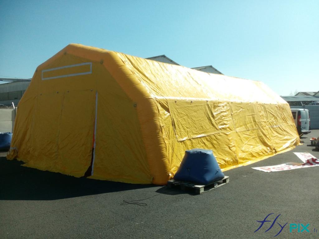 Tente PMA L = 10 m ; l = 6 m ; H = 2.75 m, air captif, PVC 0,6 mm, gonflé avec pompe + régulateur de pression