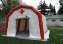 Montage d'une tente PMA (Poste Médical Avancé)