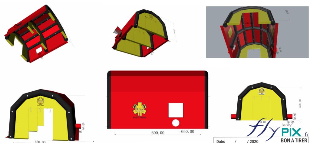 Nos infographistes, ingénieurs et techniciens procèdent à des modélisations 3D, pour la représentations des tentes médicales gonflables, avant leur mise en fabrication définitive.