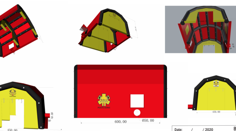 Exemple de BAT (Bon à tirer), pour une tente médicale de premiers soins, air captif étanche, gonflé à l'air avec une pompe et un régulateur de pression