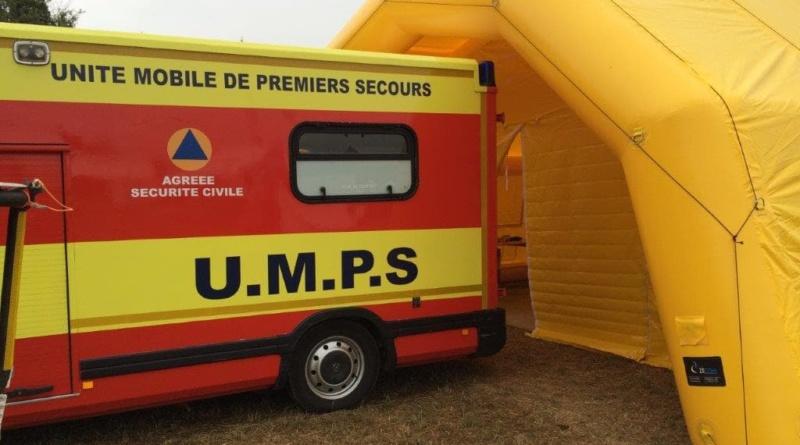 Tente gonflable de premiers secours de grande taille, en enveloppe PVC 0.6 mm, air captif.