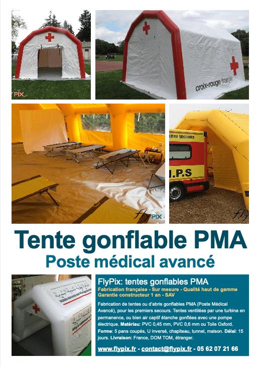 tentes, abris et hangars gonflables PMA Poste médical avancé.