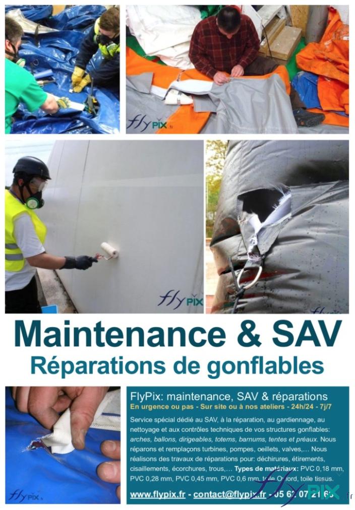 Maintenance, réparations, SAV, contrôle technique de tentes PMA et de premiers soins.