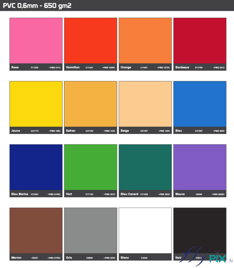 Différentes couleurs disponibles pour le nuancier Pantone PVC 0.6 mm, du fabricant.