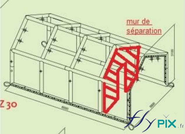 Un plan montrant le rajout d'un mur de séparation pour une tentes PMA gonflable de la Croix Rouge Française