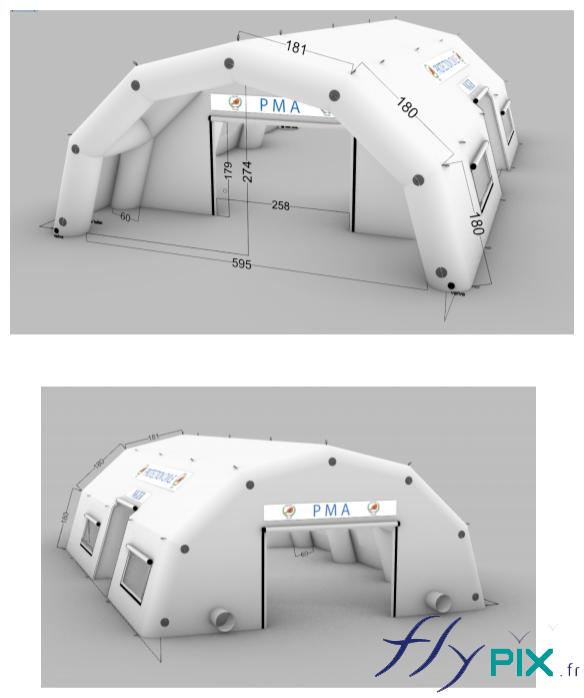 Bon à tirer de la tente poste médical avancé gonflable (tente PMA) fabriquée pour la Protection Civile du Niger.