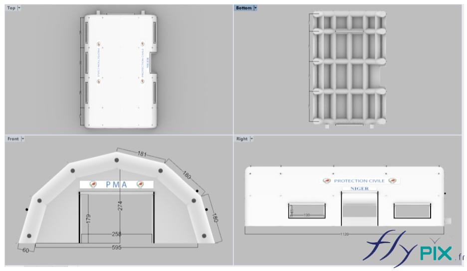 Un bon à tirer (BAT) avec des vues en 3D de la tente médicale fabriquée pour la Protection Civile du Niger (Ambassade de France du Niger).