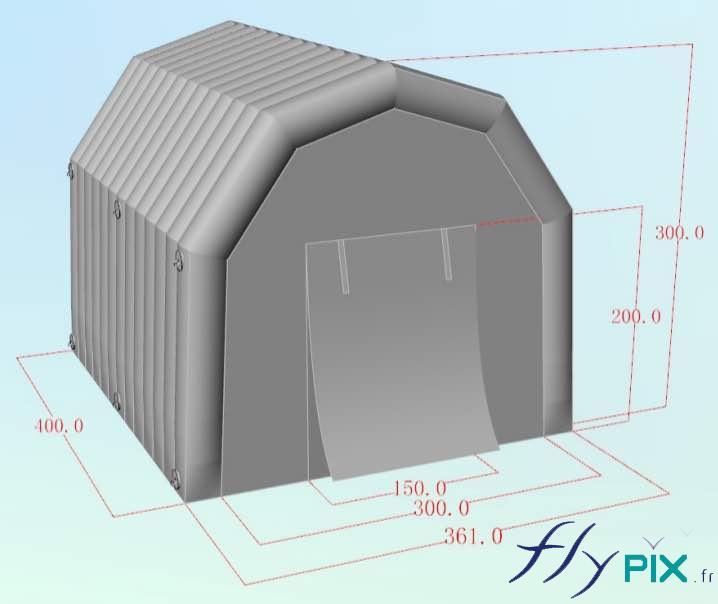 Une tente PMA militaire, pour la Marine Nationale, de dimensions 4 x 3 m, air captif et en enveloppe double peau captitonnée.
