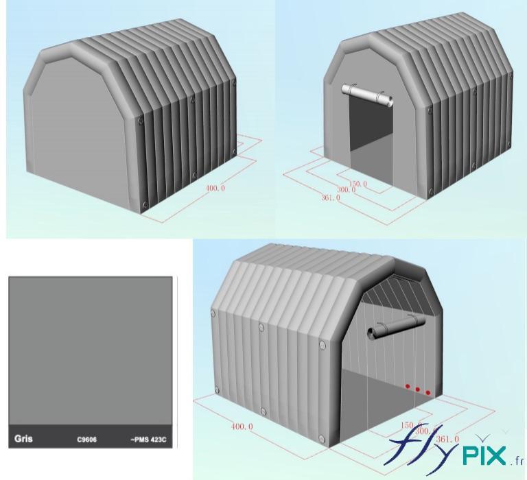 Vues 3D d'un abri gonflable PMA médical et militaire, fabriqué pour la Marine Nationale (Armée Française)