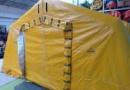 Tente médicale gonflable air captif pour la Croix Rouge Française